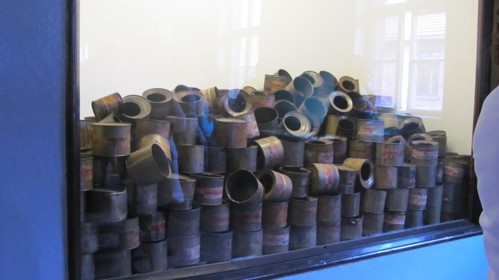 Gas cans used in the gas chambers.